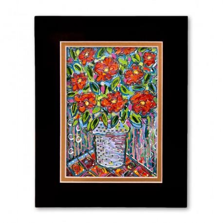 """""""Electric Florals #3"""" Matted Print, art by Tony DiAngelis"""