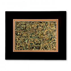 """Masks"" Matted Print, art by Tony DiAngelis"