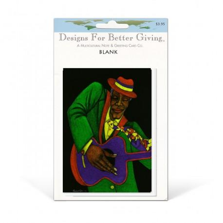 """""""Jazzman"""" Blank packaged cards, artwork by Charles Bibbs"""